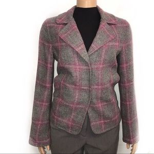 Talbots Blazer Wool Gray Pink Magenta Plaid size 6